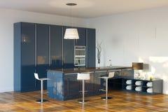 Σκούρο μπλε κουζίνα υψηλής τεχνολογίας πολυτέλειας (άποψη προοπτικής) Στοκ εικόνα με δικαίωμα ελεύθερης χρήσης