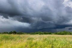 Σκούρο μπλε ουρανός και πράσινος τομέας πριν από τη καταιγίδα Στοκ φωτογραφίες με δικαίωμα ελεύθερης χρήσης