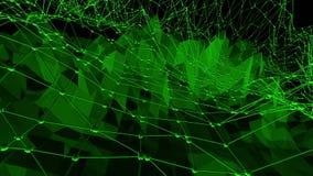Σκούρο πράσινο χαμηλή πολυ επιφάνεια κυματισμού ως μαθηματική απεικόνιση Σκούρο πράσινο polygonal γεωμετρικό δομένος περιβάλλον απεικόνιση αποθεμάτων