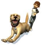 σκυλί αγοριών το τρέξιμο κ Απεικόνιση αποθεμάτων