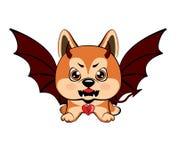 Σκυλί διαβόλων με τα κέρατα και τα φτερά ροπάλων διανυσματική απεικόνιση