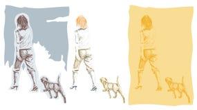 σκυλί η περπατώντας γυναί&ka Στοκ Εικόνες