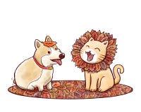 Σκυλί και γάτα που μιμούνται το λιοντάρι με το Μάιν φιαγμένο από φύλλα φθινοπώρου Στοκ φωτογραφίες με δικαίωμα ελεύθερης χρήσης