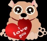 Σκυλί κινούμενων σχεδίων με την καρδιά 3 Στοκ Εικόνες