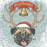 Σκυλί μαλαγμένου πηλού Χριστουγέννων διανυσματική απεικόνιση