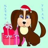Σκυλί με τα δώρα Στοκ εικόνα με δικαίωμα ελεύθερης χρήσης
