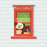 Σκυλί στο παράθυρο, χειμώνας Σχέδιο απεικόνισης καρτών Χριστουγέννων με δύο παράθυρα και χιόνι Στοκ εικόνα με δικαίωμα ελεύθερης χρήσης