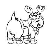 Σκυλί Χριστουγέννων που σύρεται στο ύφος μελανιού Στοκ Εικόνα