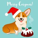 Σκυλί Corgi στο καπέλο Santa Χριστουγέννων με τα διανυσματικά κινούμενα σχέδια ι fruitcake διανυσματική απεικόνιση