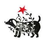 Σκυλί Linocut με τη γιρλάντα στοκ εικόνες