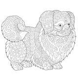 Σκυλί Pekingese Zentangle διανυσματική απεικόνιση