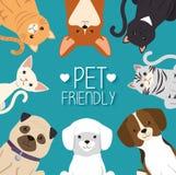 Σκυλιά και κατοικίδια ζώα γατών φιλικά ελεύθερη απεικόνιση δικαιώματος