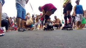 Σκυλιά σε ένα κόμμα οδών του Ρίο καρναβάλι για τα κατοικίδια ζώα απόθεμα βίντεο