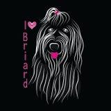 Σκυλιών φυλής Briard μονοχρωματικός γραπτός γραφικής παράστασης σκίτσων διανυσματικός με το τόξο 2017 Στοκ φωτογραφίες με δικαίωμα ελεύθερης χρήσης