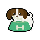 Σκυλί λίγη κυνοειδής λατρευτή τυπωμένη ύλη τροφίμων β κύπελλων διανυσματική απεικόνιση