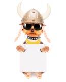 Σκυλί που ντύνεται επάνω ως Βίκινγκ με το έμβλημα Στοκ Εικόνες