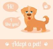 Σκυλί σε ένα ύφος κινούμενων σχεδίων Μην ψωνίστε, να υιοθετήσουν Έννοια υιοθέτησης σκυλιών Στοκ εικόνες με δικαίωμα ελεύθερης χρήσης