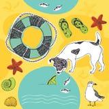 Σκυλί στο σχέδιο παραλιών Στοκ Εικόνες