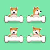 Σκυλί inu akita χαρακτήρα κινουμένων σχεδίων με τα μεγάλα κόκκαλα Στοκ Φωτογραφίες