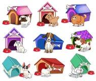 Σκυλιά με τα σπίτια απεικόνιση αποθεμάτων