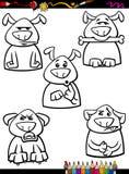 Σκυλιών χρωματίζοντας σελίδα κινούμενων σχεδίων συγκίνησης καθορισμένη Στοκ Φωτογραφίες