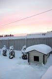 Σκυλόσπιτο και χειμερινό ηλιοβασίλεμα Στοκ φωτογραφία με δικαίωμα ελεύθερης χρήσης