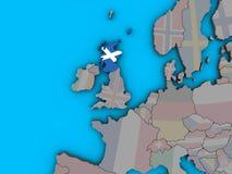 Σκωτία με τη σημαία στον τρισδιάστατο χάρτη απεικόνιση αποθεμάτων