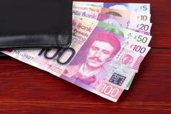 Σκωτσέζικες λίβρες στο μαύρο πορτοφόλι στοκ εικόνα με δικαίωμα ελεύθερης χρήσης