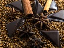 Σκόνη κακάου γλυκάνισου αστεριών σοκολάτας κανέλας Στοκ Φωτογραφία
