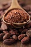 Σκόνη κακάου στο κουτάλι στα ψημένα φασόλια σοκολάτας κακάου backgroun Στοκ φωτογραφία με δικαίωμα ελεύθερης χρήσης