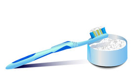 Σκόνη οδοντοβουρτσών και δοντιών Στοκ Φωτογραφία