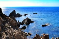 Σκόπελος των σειρήνων σε Cabo de Gata, Αλμερία, Ισπανία στοκ φωτογραφία με δικαίωμα ελεύθερης χρήσης