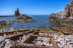 Σκόπελος Las Sirenas, Αλμερία, Ισπανία στοκ εικόνες