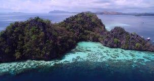 Σκόπελος Malwawey και κήπος κοραλλιών σε Coron, Palawan, Φιλιππίνες απόθεμα βίντεο