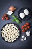Σκόρδο βασιλικού τυριών κρεμμυδιών ντοματών Gnocchi στοκ εικόνα με δικαίωμα ελεύθερης χρήσης