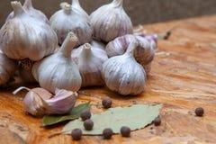 Σκόρδο και καρυκεύματα για το μαγείρεμα στοκ εικόνα με δικαίωμα ελεύθερης χρήσης