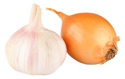 Σκόρδο και κρεμμύδι που απομονώνονται Στοκ εικόνα με δικαίωμα ελεύθερης χρήσης