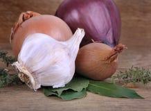 Σκόρδο, κρεμμύδια και κρεμμύδι Στοκ Εικόνες