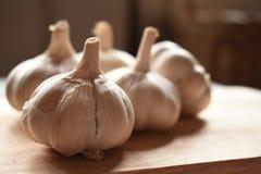 Σκόρδο στο ξύλινο πιάτο Στοκ Εικόνες