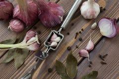Σκόρδο Τύπου, κόκκινα σκόρδο και καρυκεύματα Στοκ Φωτογραφίες
