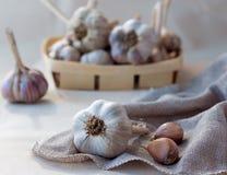 Σκόρδο sackcloth στην πετσέτα Στοκ φωτογραφία με δικαίωμα ελεύθερης χρήσης