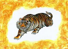 σκύβοντας τίγρη διανυσματική απεικόνιση