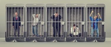 Σκλάβος του smartphone Στοκ εικόνες με δικαίωμα ελεύθερης χρήσης