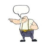0 σκληρός άνδρας κινούμενων σχεδίων που δείχνει με τη λεκτική φυσαλίδα Στοκ Φωτογραφίες