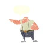 0 σκληρός άνδρας κινούμενων σχεδίων που δείχνει με τη λεκτική φυσαλίδα Στοκ φωτογραφία με δικαίωμα ελεύθερης χρήσης