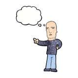 σκληρός άνδρας κινούμενων σχεδίων που δείχνει με τη σκεπτόμενη φυσαλίδα Στοκ Εικόνες