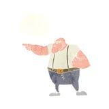 0 σκληρός άνδρας κινούμενων σχεδίων που δείχνει με τη σκεπτόμενη φυσαλίδα Στοκ Εικόνα