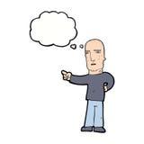 σκληρός άνδρας κινούμενων σχεδίων που δείχνει με τη σκεπτόμενη φυσαλίδα Στοκ εικόνα με δικαίωμα ελεύθερης χρήσης