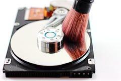 Σκληρός δίσκος και καθαρίζοντας βούρτσα στοκ εικόνες