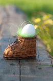 Σκληρός-βρασμένο αυγό στη φωλιά παιχνιδιών Στοκ Φωτογραφία